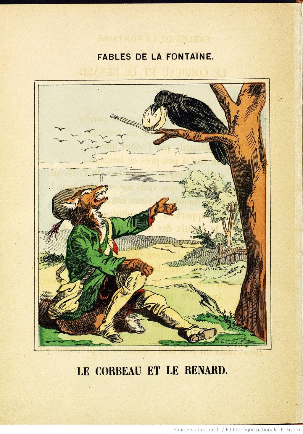 Fables de la fontaine images d 39 pinal le corbeau et le renard bnf gravures estampes - Coloriage le corbeau et le renard ...