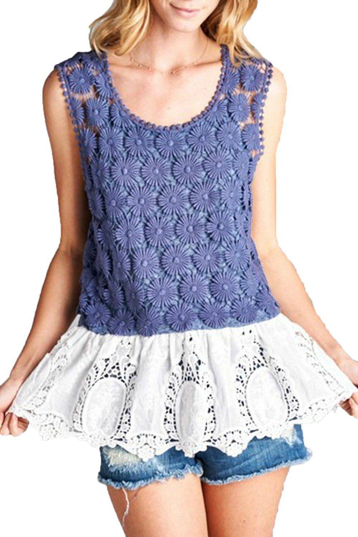 Oddi Women's Sleeveless Navy Blue Crochet And Lace Top