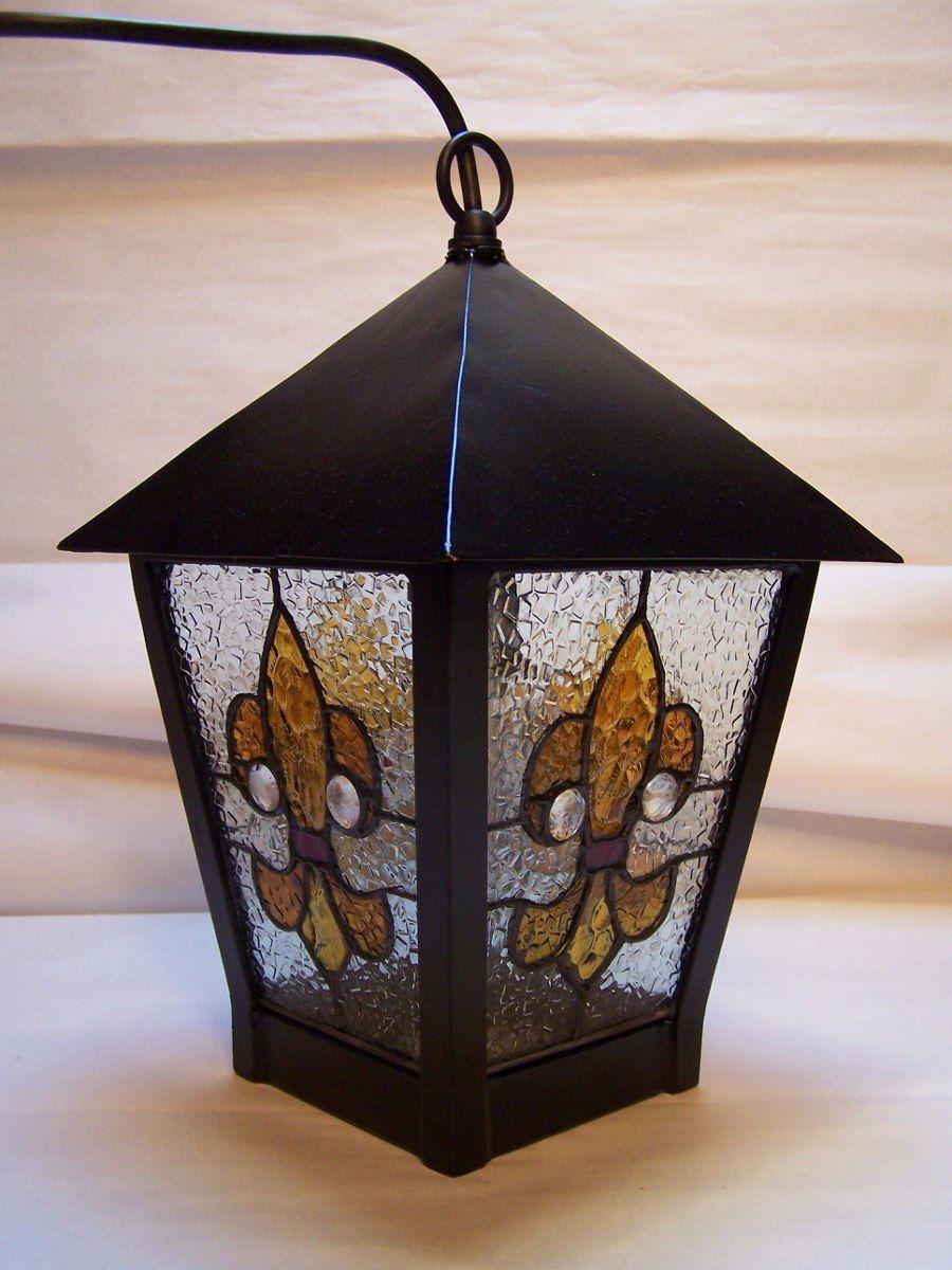 Farol de hierro artesanal con vitreaux en for Adornos navidenos mercadolibre