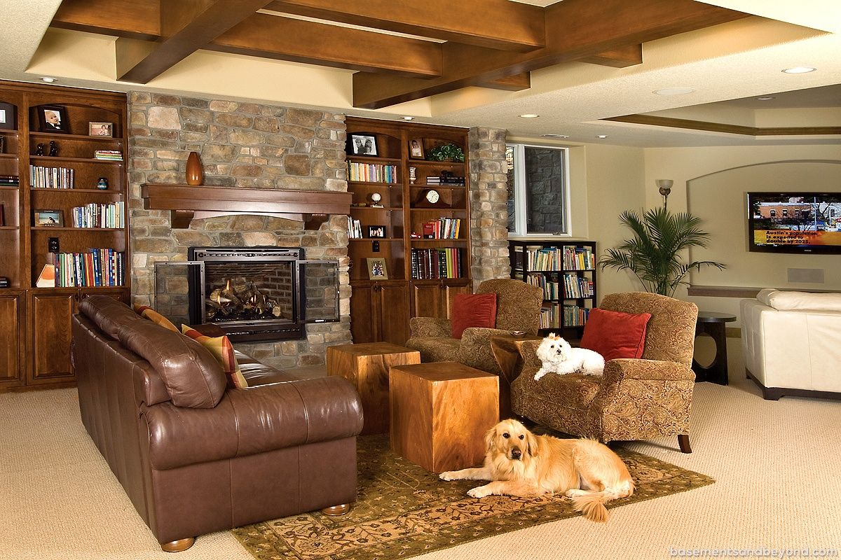 Award Winning Luxury Basement In Parker Remodeling By Basements Fireplace Seating Fireplace Built Ins Rustic Basement