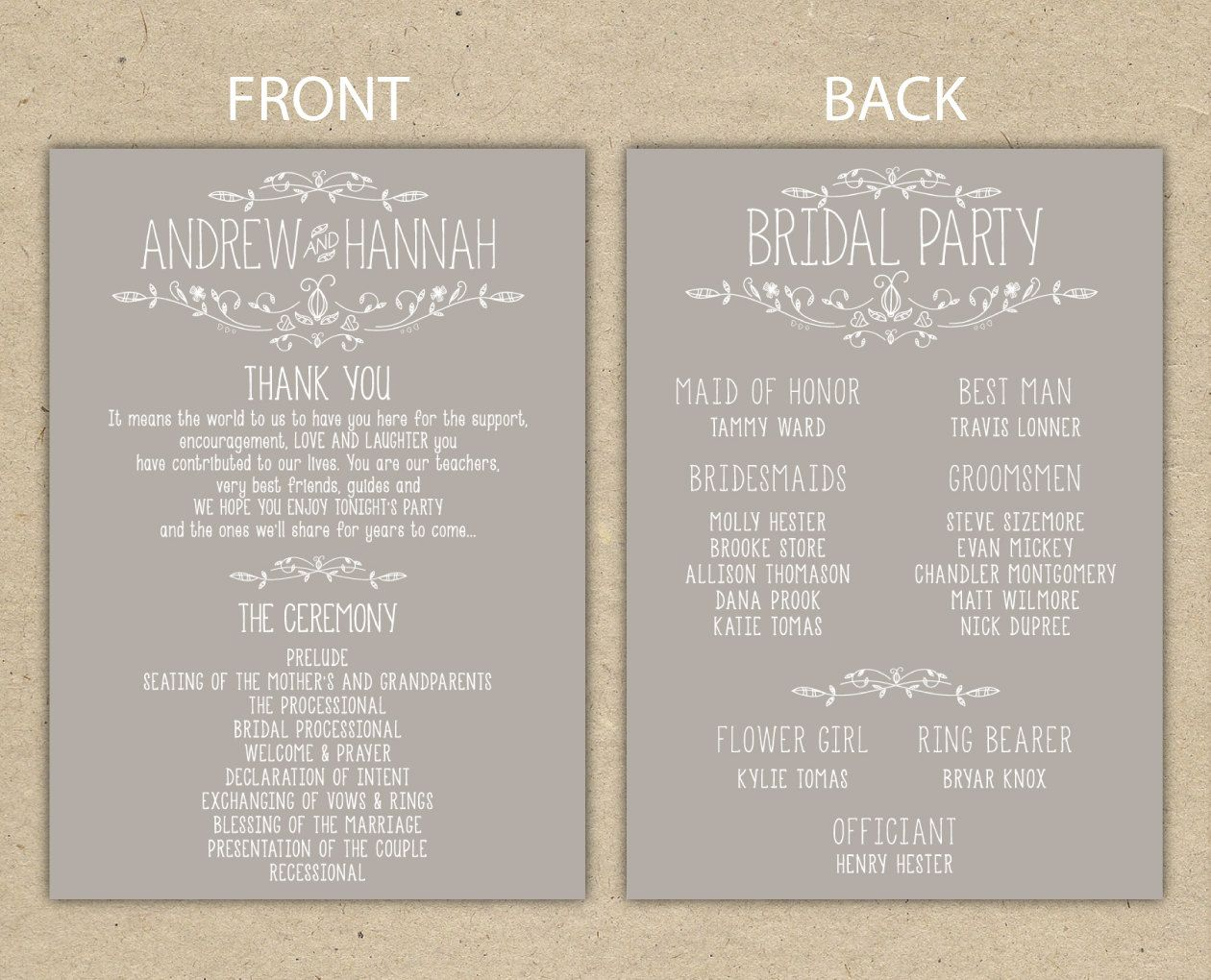 Wedding Program Wedding Reception Wedding Thank You Printable