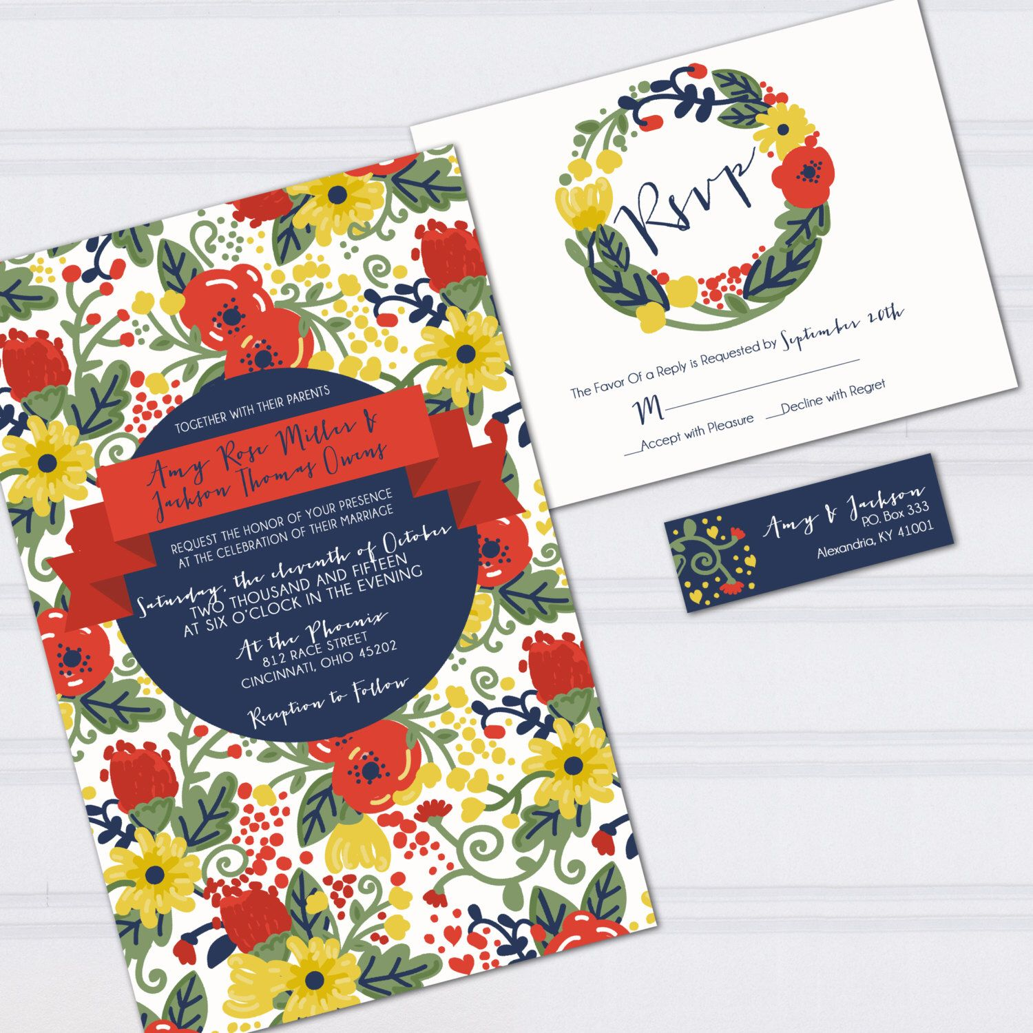 Floral Pattern Wedding Invitations, Wedding Doodles, Orange and Navy ...