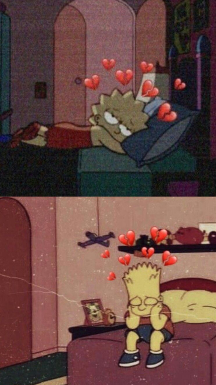 The Simpsons HD Aesthetic Broken Heart Wallpaper iPhone Android