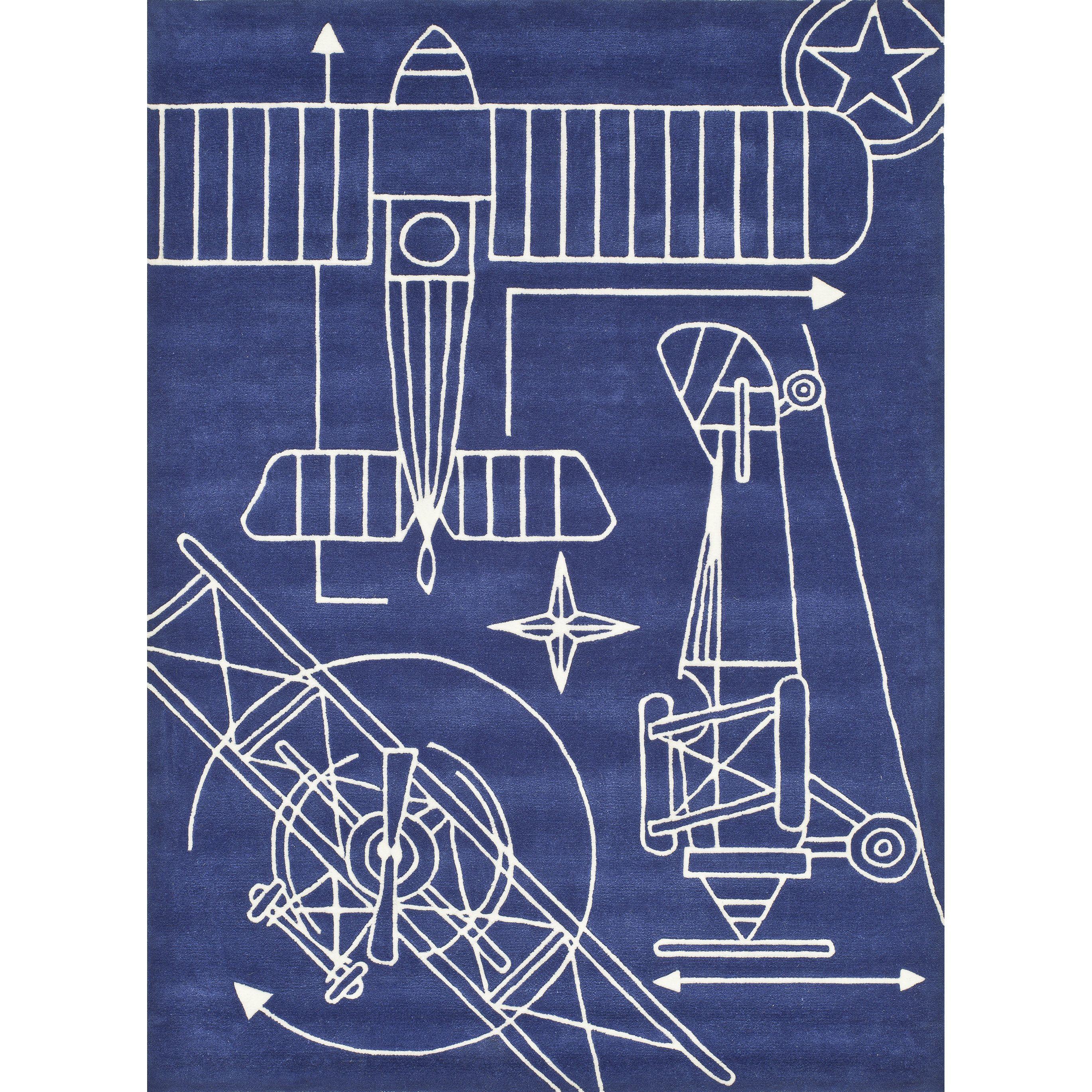 Momeni Lil Mo Airplane Blueprint Navy Rug (2 X 3)