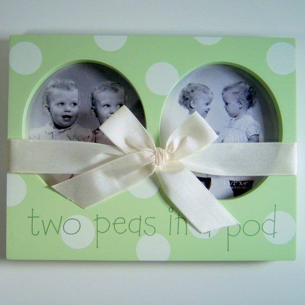Twins Two Peas In A Pod Green Picture Frame Babys Room Nursery Baby