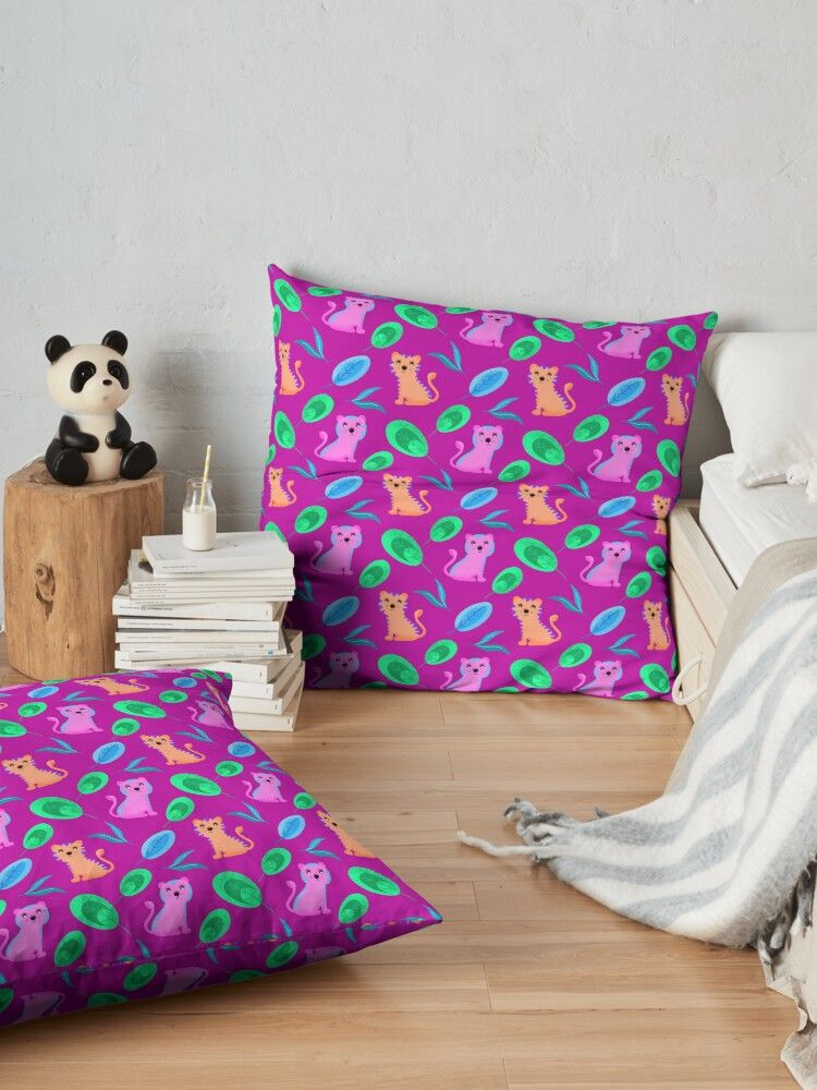 'Funny sweet cute happy little baby pink & orange wild tigers and tropical rainforest jungle exotic green blue leaves pattern. Gift ideas for tiger and nature lovers. Nursery. Wilderness.' Floor Pillow by MerveilleDesign