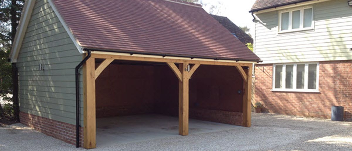 2 Bay Cart Lodge with Plain Tiled roof, both bays open