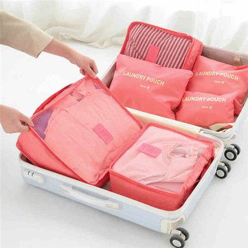 6PCS Waterproof Nylon Cube Travel Storage Bag Clothes Cosmetic Bag Luggage Pouch Bag is fashion-NewChic Mobile. & 6PCS Waterproof Nylon Cube Travel Storage Bag Clothes Cosmetic Bag ...
