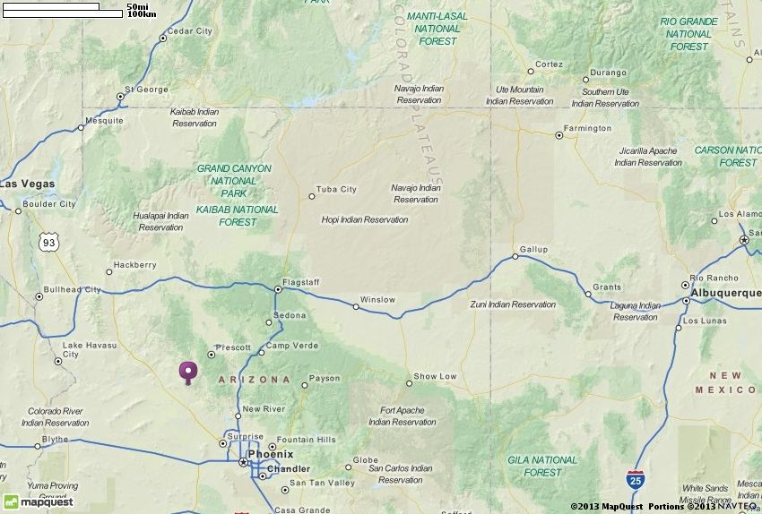 Map of Yarnell AZ | Yarnell Arizona Hotels, Restaurants, Airports