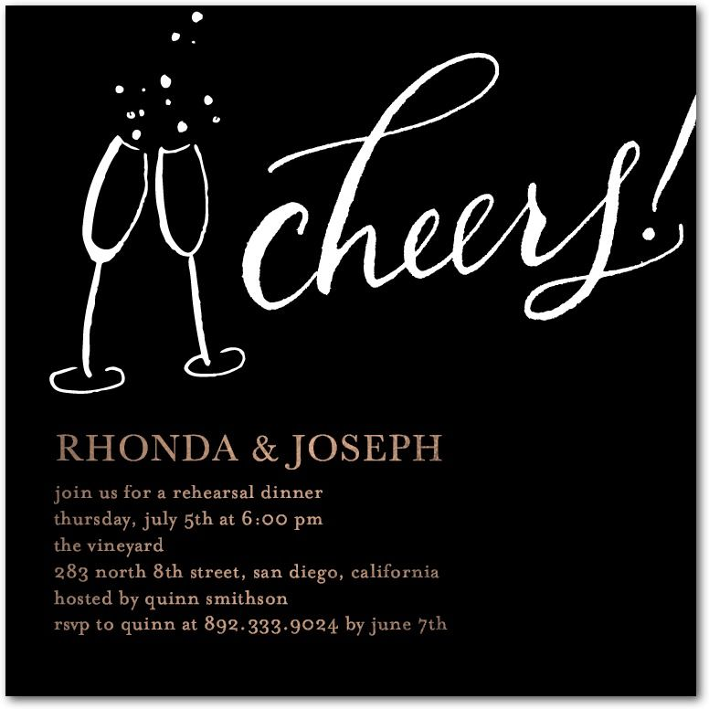 Cheers Contrast - Signature White Rehearsal Dinner Invitations in Black or…