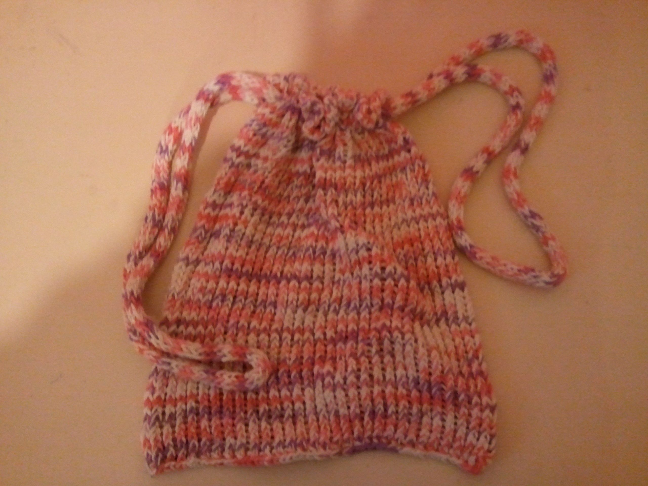 Fun Loom Knitting Patterns : loom knitted drawstring tote Bindis Fun Stuff Pinterest Loom knit,...