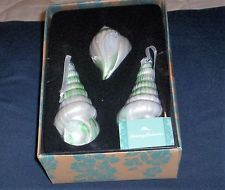 TOMMY BAHAMA SEA SHELL CHRISTMAS ORNAMENTS irresdecent  Turquoise Set Of 3 NEW