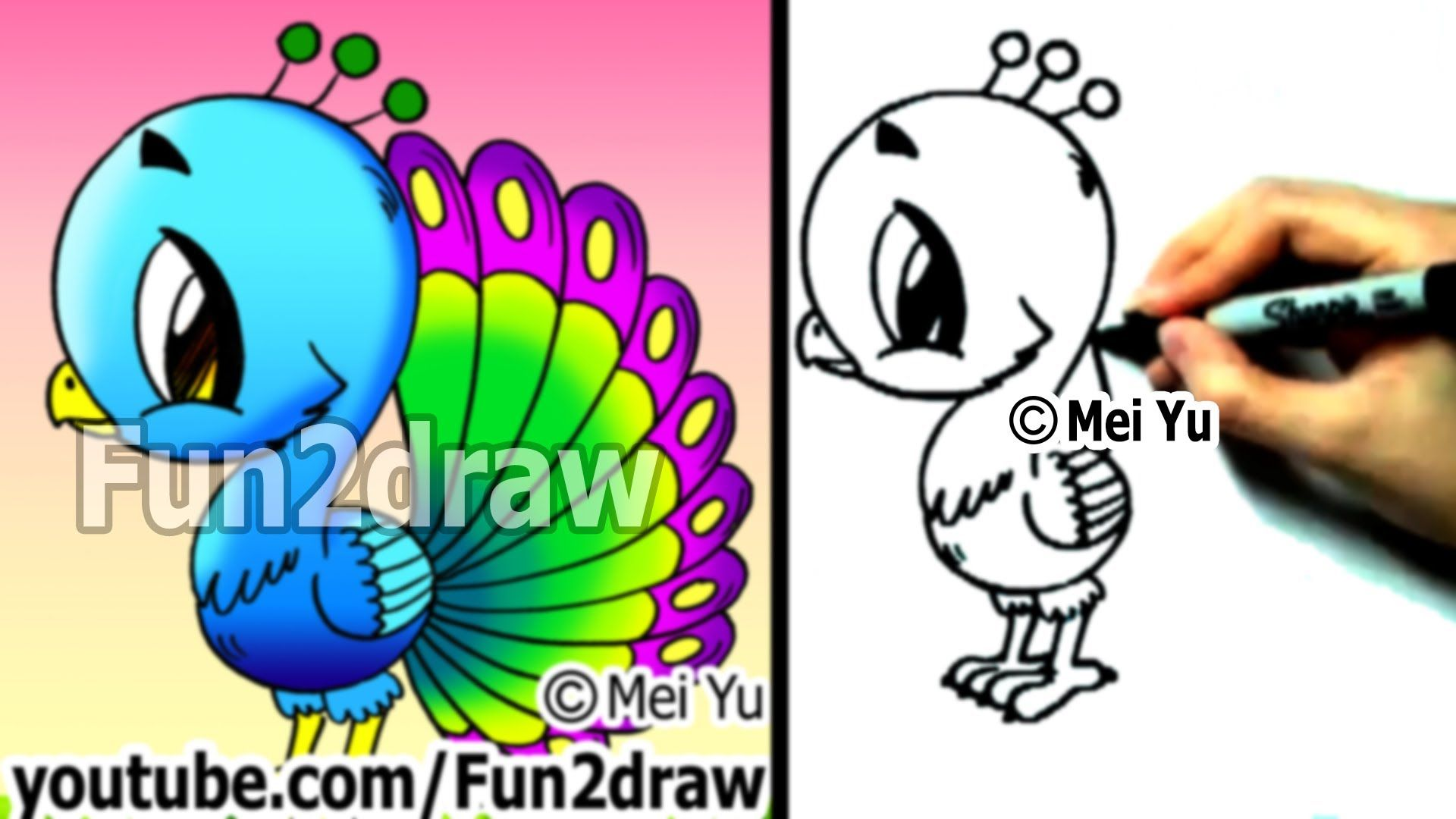 Fun2draw  How To Draw A Cartoon Peacock : Http: