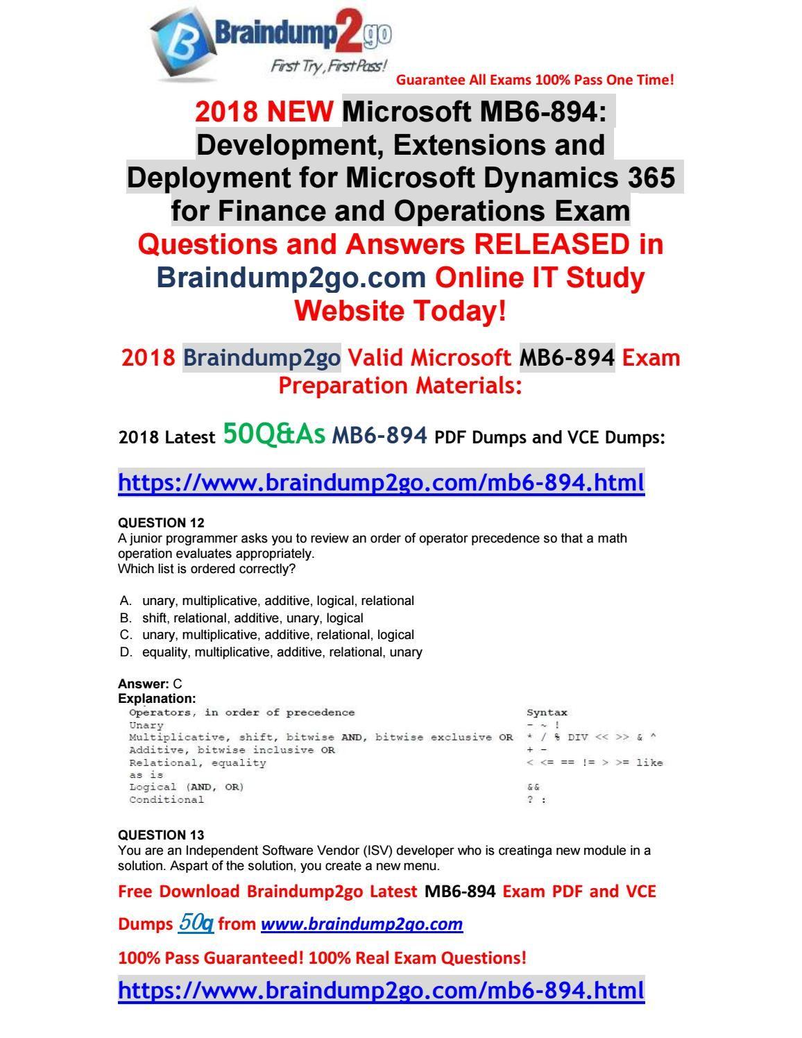 2018 New Microsoft Exam Mb6 894 Vce Dumps 50qas Free Share 12 22