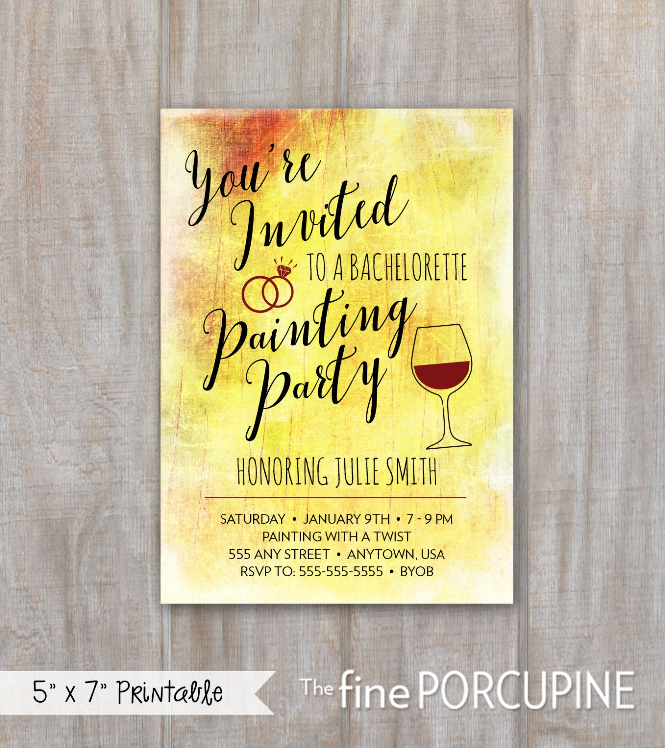 Painting Party Invites, Wine and Painting, Canvas Party Invites ...