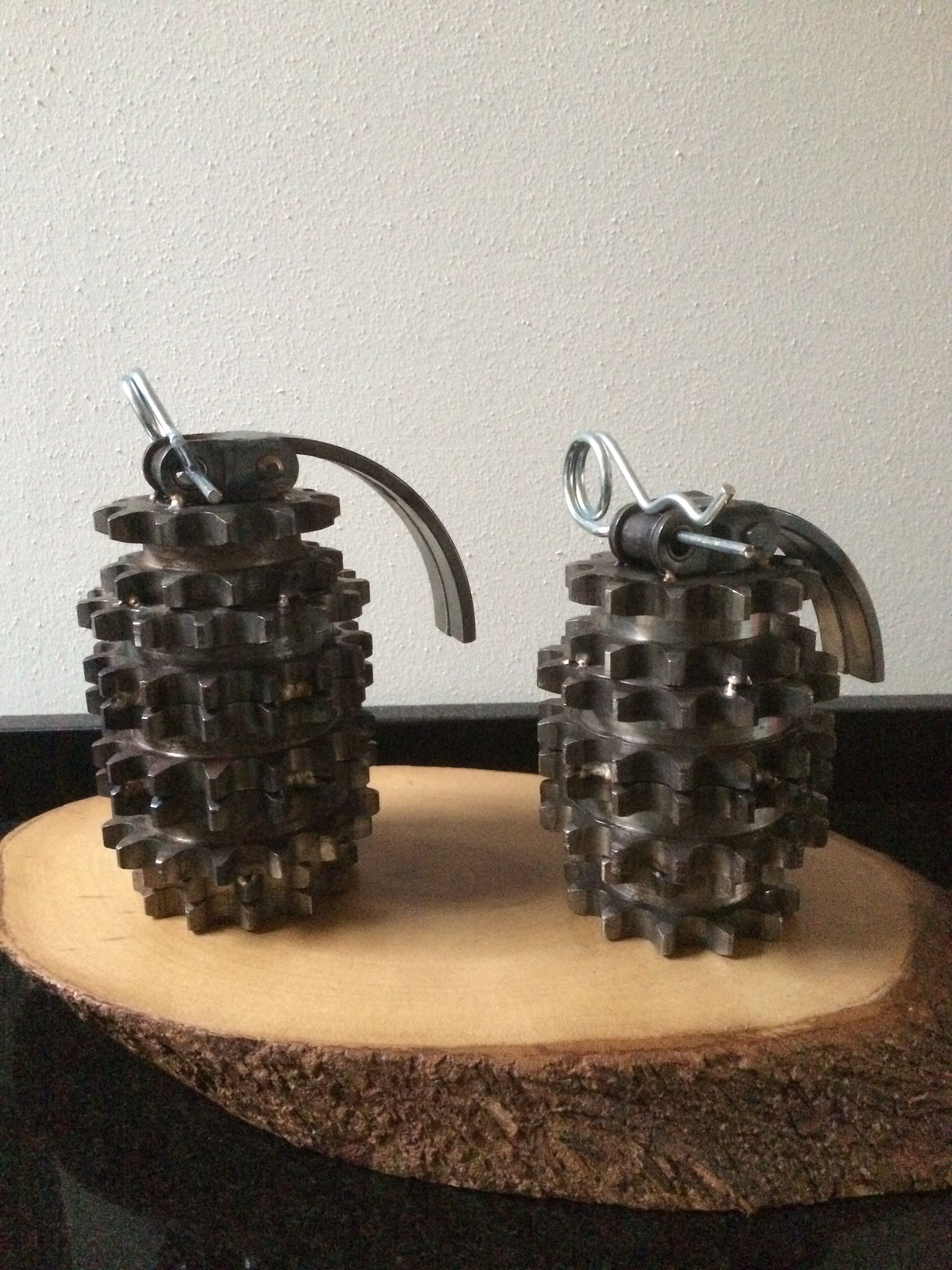 Earrings with steel bolts scrap metals