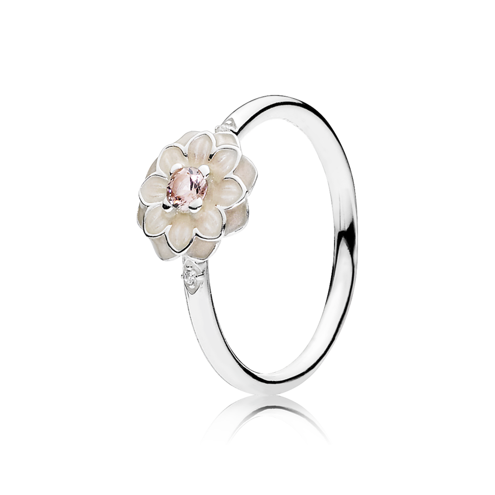Pandora Blooming Dahlia Cream Enamel Clear Cz Blush Pink