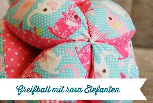 Greifball für Babies und Kleinkinder mit rosa Elefanten