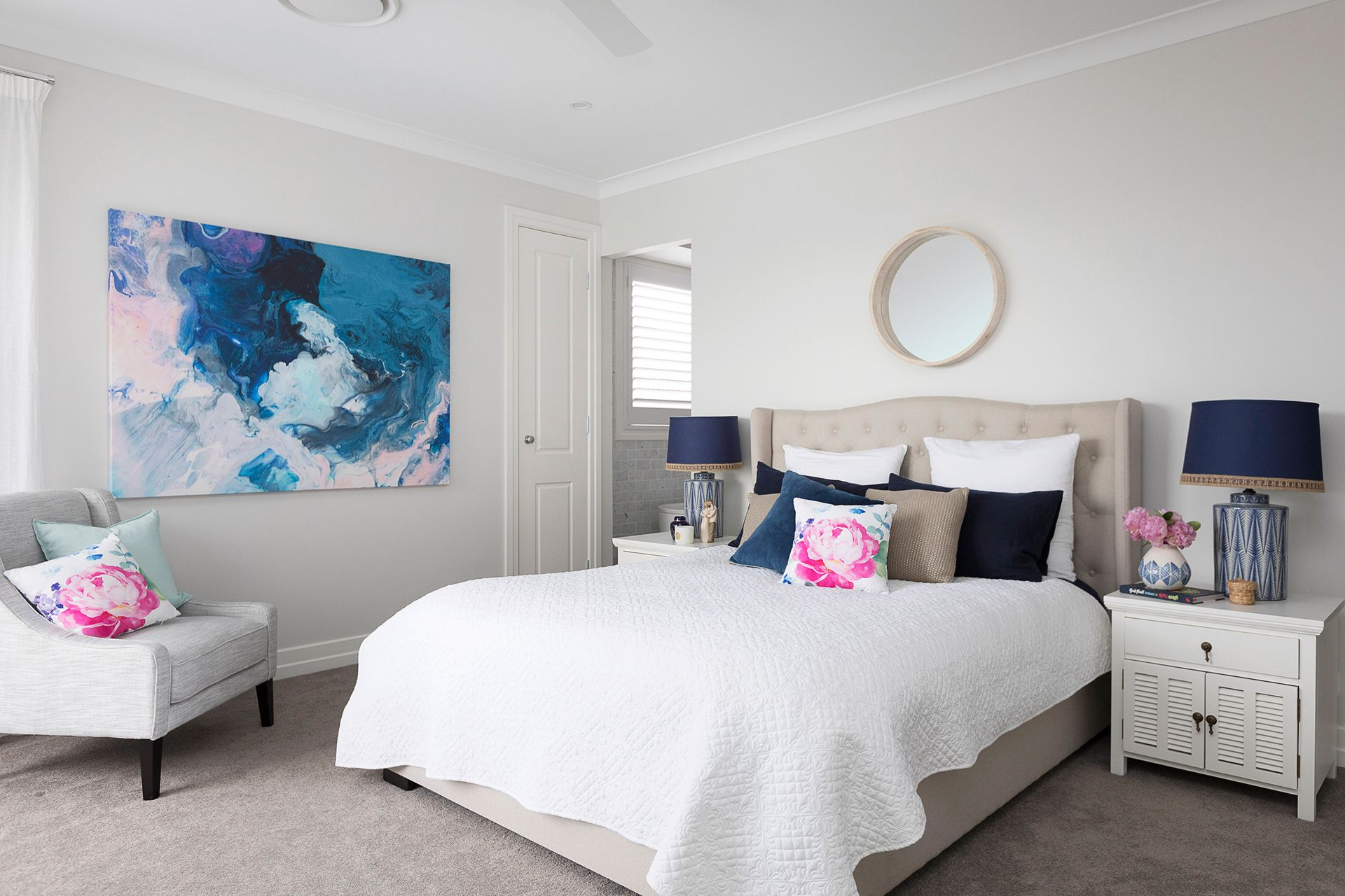 Refreshed Hamptons Style Reigns In This New Build Hamptons Style Bedrooms Hamptons Style Hamptons Style Homes