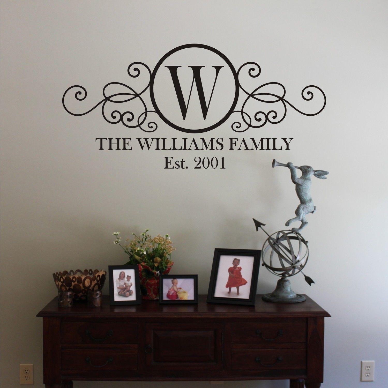 LARGE Swirly Circle Family Monogram Vinyl Wall Decal Wall Decals - Custom vinyl wall decals circles