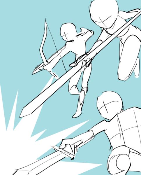 多人数をどうやって配置する 複数キャラクターの構図集 いちあっぷ アートリファレンス キャラクターデザイン スケッチ