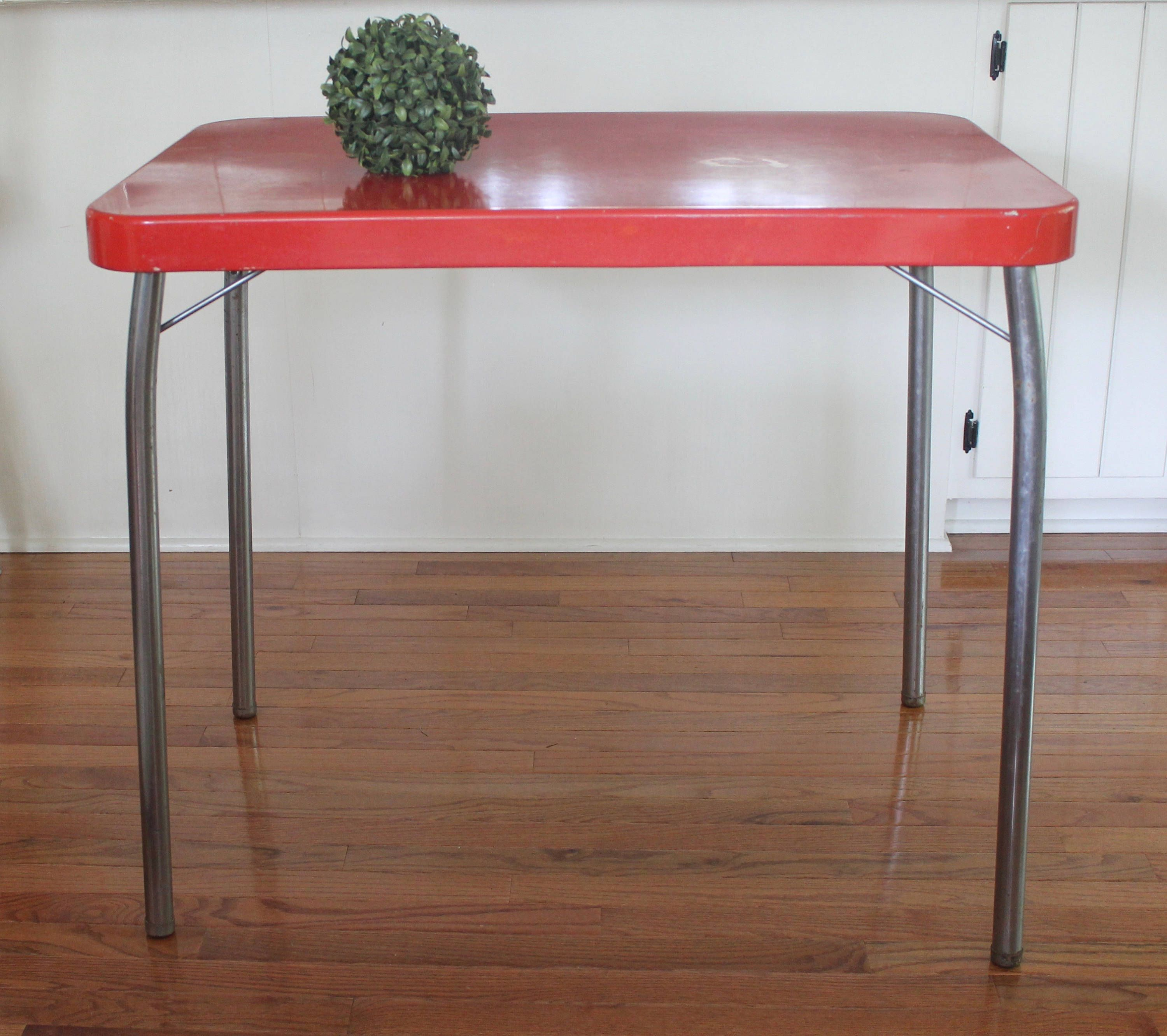 Rare Cosco Red Folding Table Vintage Cool Mid Century Red And