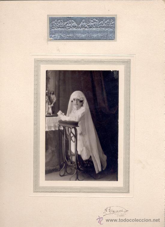 Espejos Arte Y Antigüedades Bonito Antiguo Marco De Fotos Con Imagen Comunión 1905 Buy Now