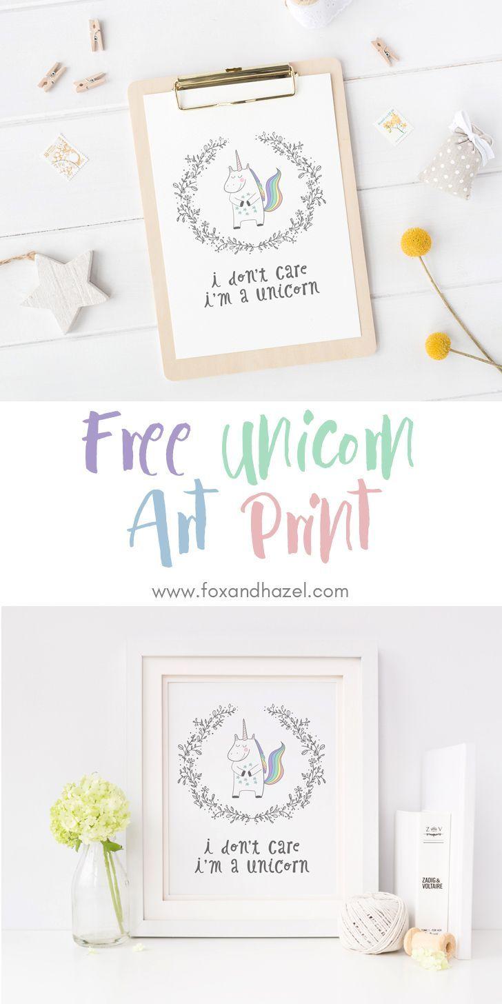 Free Unicorn Printable Wall Art Fox Hazel Unicorn Printables Wall Printables Printable Wall Art