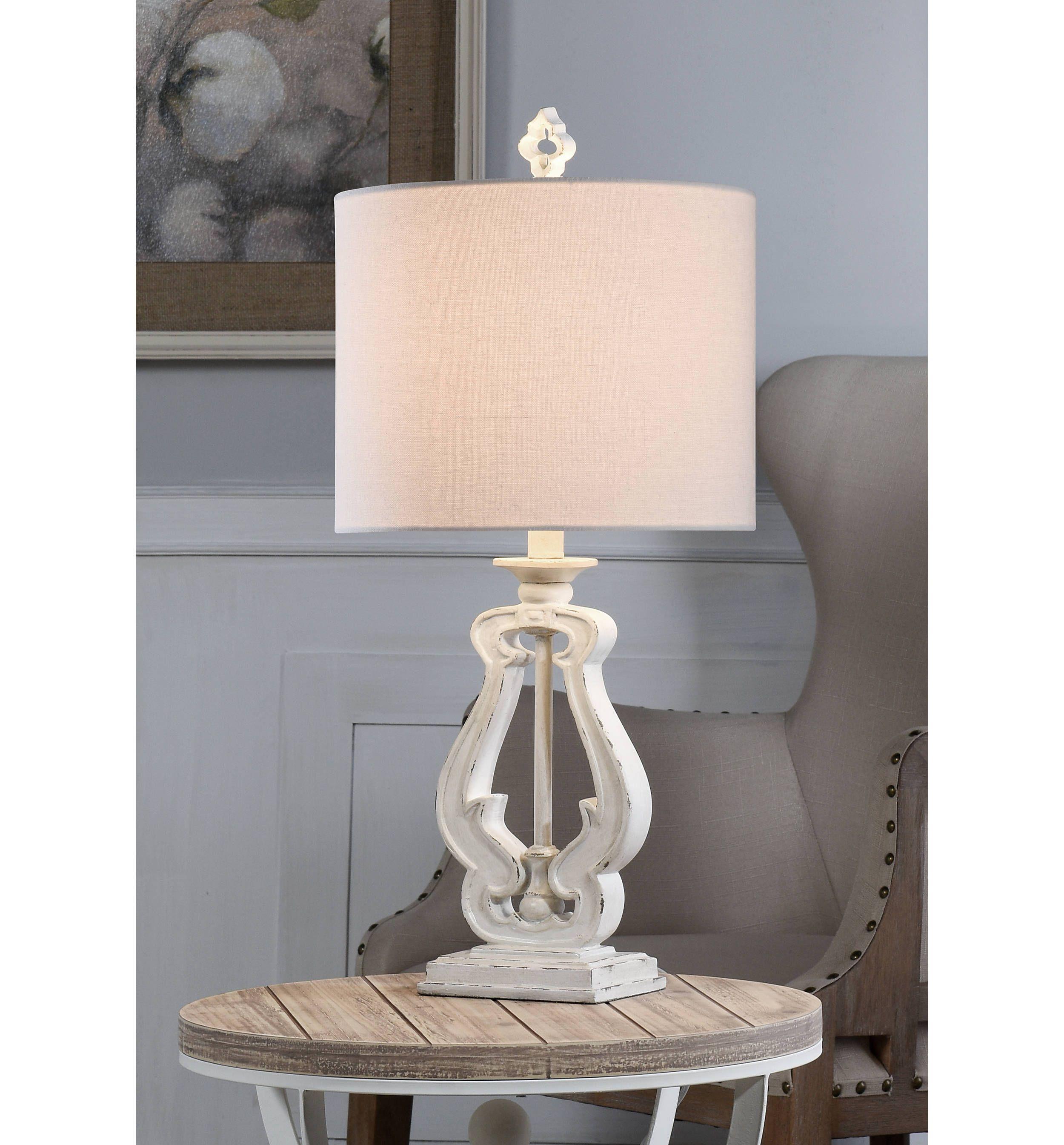 Distressed white french farmhouse table lamp farmhouse