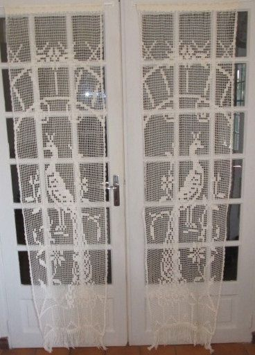 French Door Crochet Lace Curtains Peacock By HatchedinFrance, $89.00