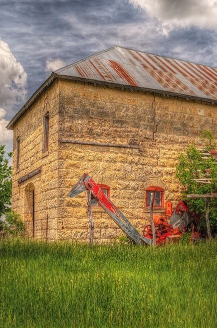 Stone Barn & Old Massey-Harris Combine.