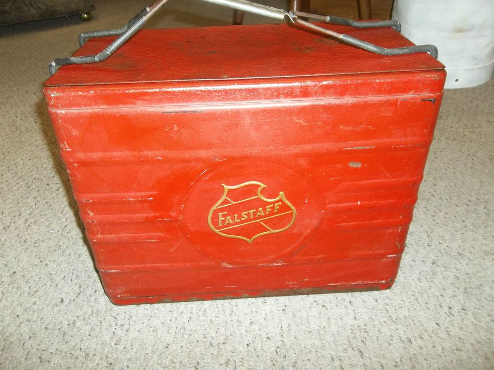 vintage falstaff beer cooler 1950s red metal cooler w bottle opener picnic coolers. Black Bedroom Furniture Sets. Home Design Ideas