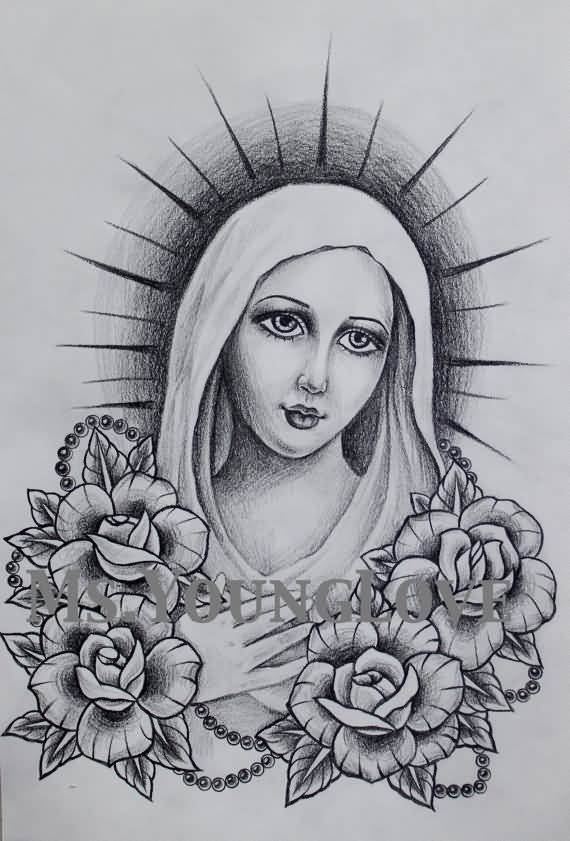 Mother Mary Tattoo Drawings : mother, tattoo, drawings, Roses, Rosary, Beads, Under, Blessed, Mother, Tattoo, Tattoo,, Virgin, Tattoos