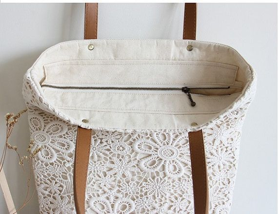 handmade shabby chic cotton wedding bag lace bag lace tote vintage style ivory off white. Black Bedroom Furniture Sets. Home Design Ideas