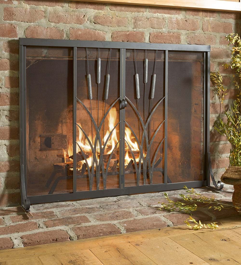 Cattail Fire Screen With Sliding Doors 44 X 33 Collection