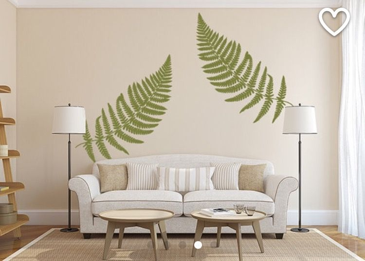 Fern Wall Decal Large Leaf Decals Vinyl Leaves Botanical Decor Earthy Sticker Home Office