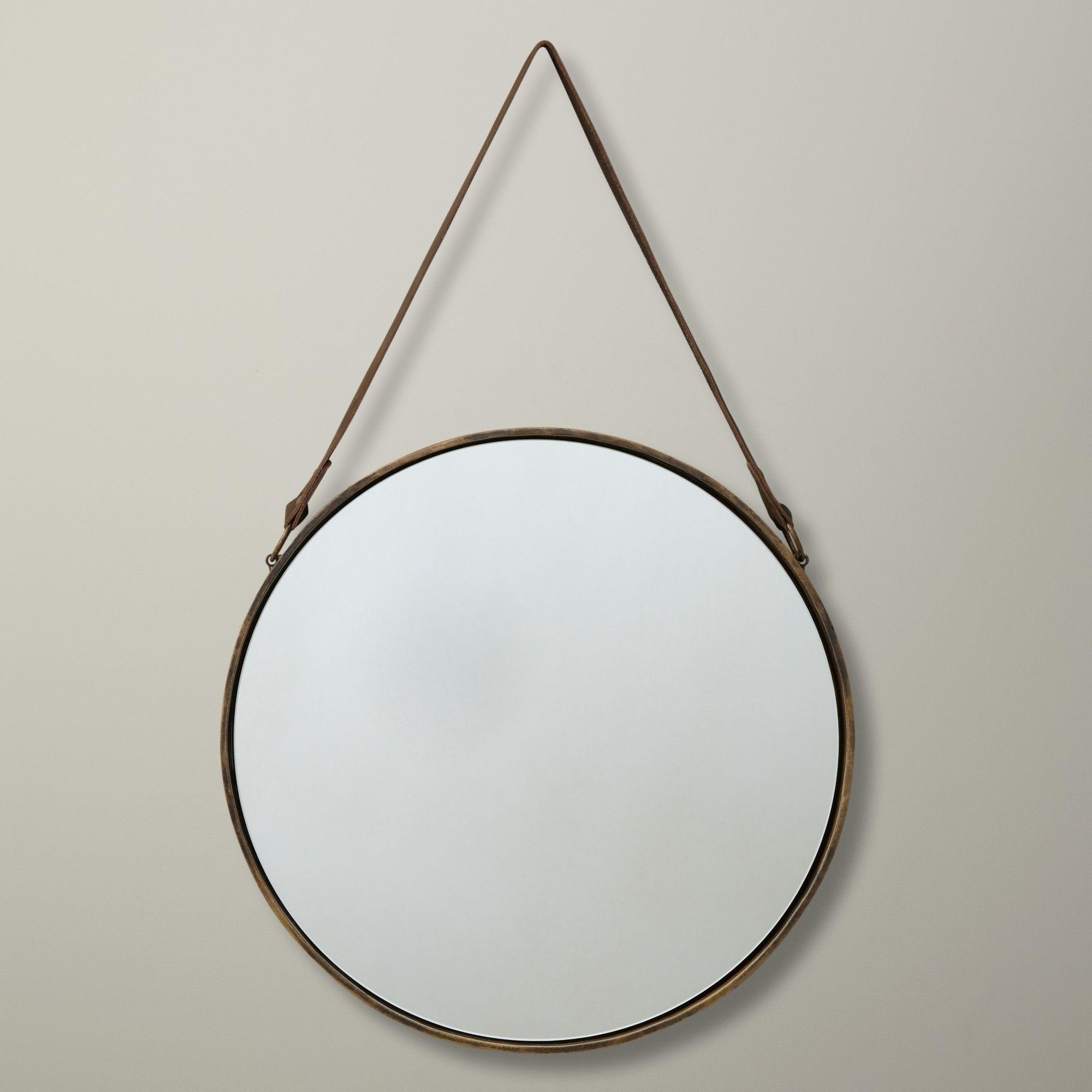 John Lewis Round Hanging Mirror, Matt Brass, Dia.38cm ...