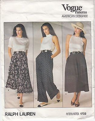 Vogue Skirt 2 Lengths Pants Flared Pockets Pleats Sewing Pattern Sz ...