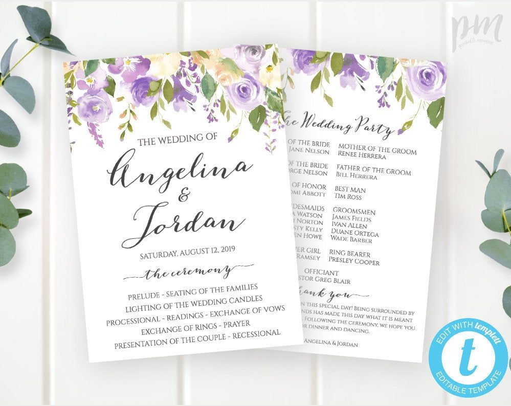 Lilac Wedding Program Template Printable Lavender Order Of