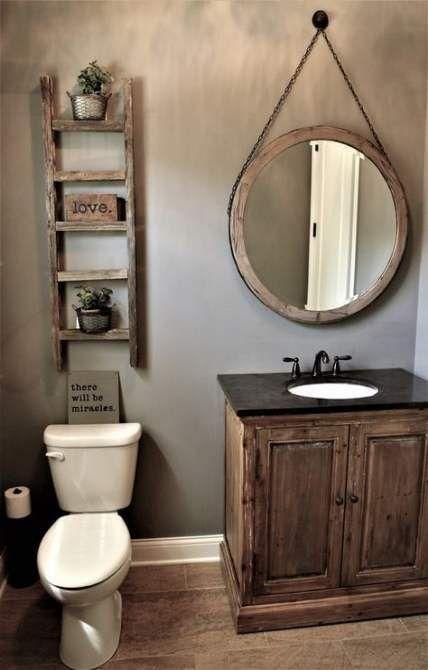 Bath Room Shelves Rustic Powder Rooms 15 Ideas For 2019#bath #ideas #powder #room #rooms #rustic #shelves