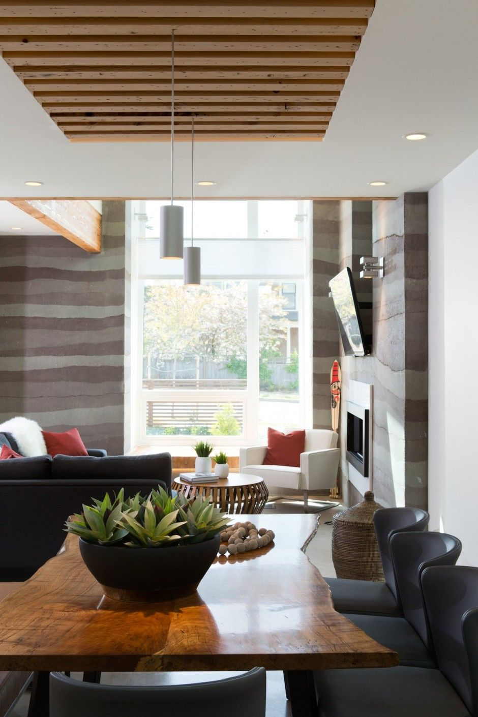 Modern white dining room with slatted ceiling luxesource luxe magazine the luxury home redefined pinterest wood ceilings also rh