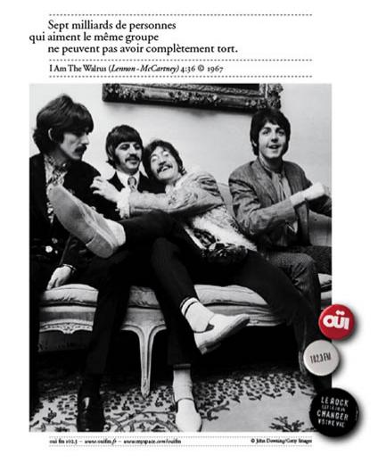 """OUÏ FM - The Beatles """"Sept milliards de personnes qui aiment le même groupe ne peuvent pas avoir complètement tort""""."""