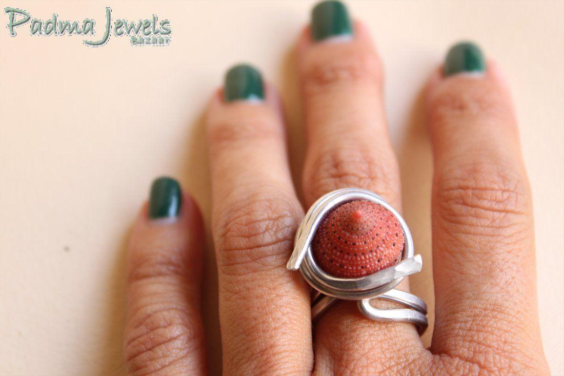 La rossa ring aluminium and shell by Padma Jewels Bazaar