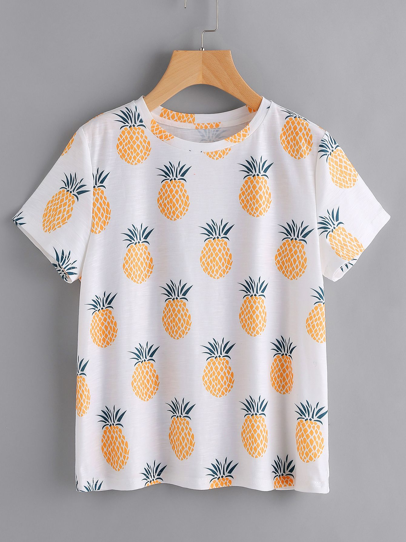 f2e05edb453a Shop Allover Pineapple Print Slub Tee online. SheIn offers Allover Pineapple  Print Slub Tee & more to fit your fashionable needs.