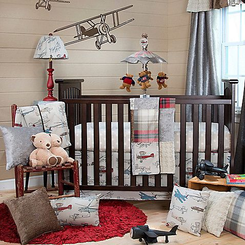 The Fly By 3 Piece Crib Bedding Set Includes A Beautiful Quilt Skirt And Grey Dot Ed Sheet This Retro Airplane Themed U