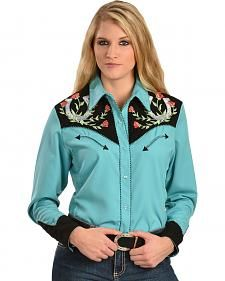 704191f855 Scully Horseshoe Embroidered Retro Western Shirt