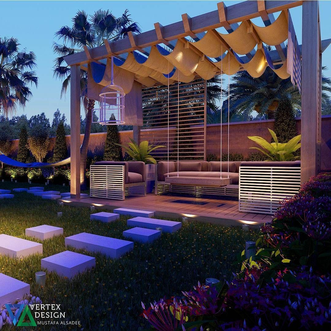 تصميم ديكور اونلاين Vertex On Instagram جلسه خارجية في فيلا من اعمالنا بإمكانكم التواصل والاستشارة على واتس اب بأي و Pergola Outdoor Structures Outdoor