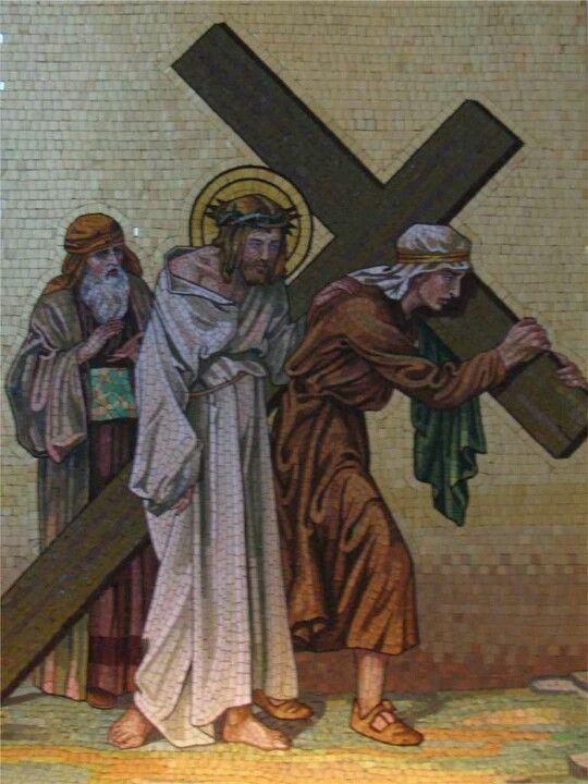 Station 5, Simon of Cyrene helps Jesus to carry his Cross ...