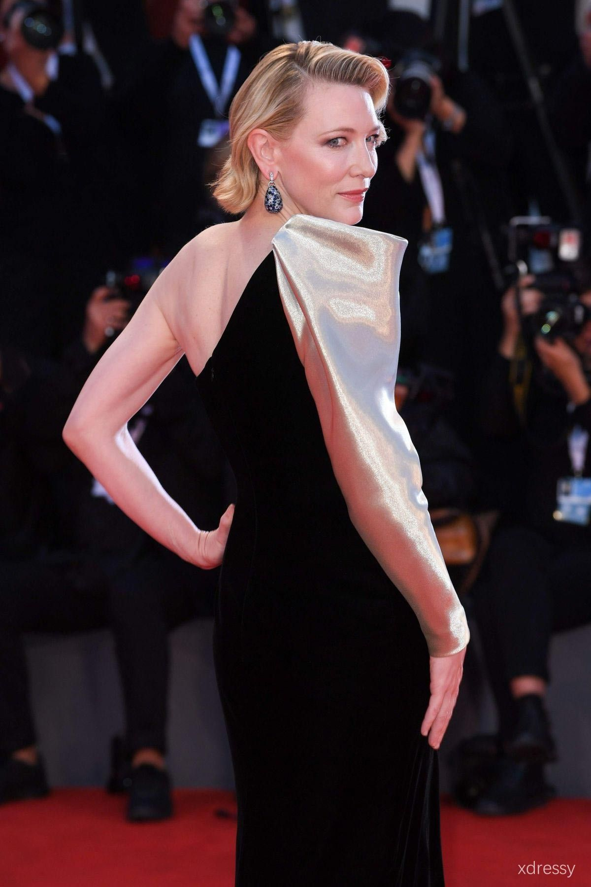 Cate blanchett asymmetrical one sleeve champagne and black dress at