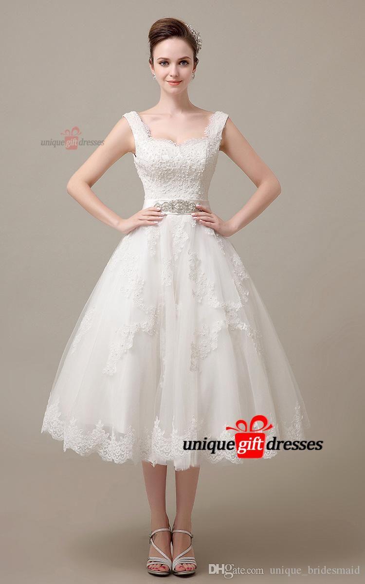 Little white dresses sweetheart tea length lace tulle beads wedding